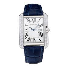 Replique Cartier Tank Diamant cas avec bracelet en cuir blanc Cadran-Bleu - Attractive Tank de Cartier montre pour vous 28548