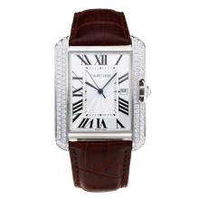 Replique Cartier Tank Diamant cas avec bracelet en cuir cadran blanc-café - Attractive montre Tank de Cartier pour vous 28547