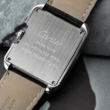 Replique Cartier Tank Anglaise avec bracelet en cuir blanc Cadran-Noir (boîte-cadeau est inclus) - Attractive montre Tank de Cartier pour vous 28542
