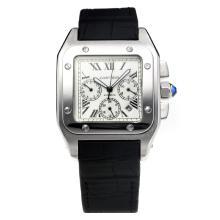 Replique Cartier Santos 100 automatique avec cadran blanc-bracelet en caoutchouc - Attractive Cartier Santos montre pour vous 28495