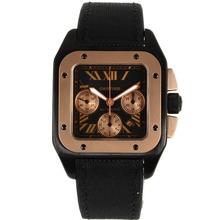 Replique Cartier Santos 100 Chronograph Valjoux 7750 Mouvement suisse PVD affaire avec sangle en nylon - Attractive Cartier Santos montre pour vous 29503