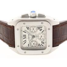 Replique Cartier Santos 100 Chronograph Valjoux 7750 Mouvement suisse avec bracelet en cuir brun cadran blanc-- Attractive Cartier Santos Montre pour vous 29499