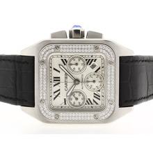 Replique Cartier Santos 100 Chronograph Valjoux 7750 Mouvement suisse-Diamond Bezel - Attractive montre Cartier Santos pour vous 29498