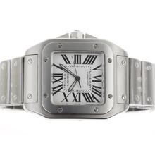 Replique Cartier Santos 100 Swiss ETA 2824 Mouvement avec cadran blanc S / S - Attractive Cartier Santos montre pour vous 29431