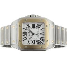 Replique Cartier Santos 100 Swiss ETA 2824 Mouvement deux tons avec cadran blanc - Attractive Cartier Santos montre pour vous 29430