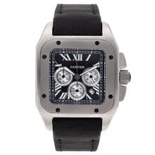 Replique Cartier Santos 100 Chronograph de travail avec cadran noir-Nylon Strap - Attractive Cartier Santos montre pour vous 29336