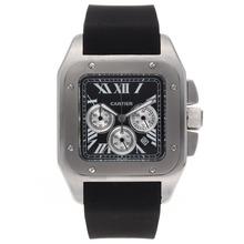Replique Cartier Santos 100 Chronograph de travail avec cadran noir-Bracelet Caoutchouc - Attractive montre Cartier Santos pour vous 29335