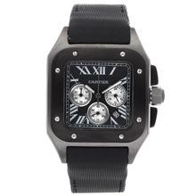 Replique Cartier Santos 100 Chronograph Boîtier de travail gris avec cadran noir-Nylon Strap - Attractive Cartier Santos montre pour vous 29319