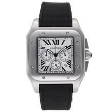 Replique Cartier Santos 100 Chronograph de travail avec cadran blanc-bracelet en nylon - Attractive Cartier Santos montre pour vous 29318