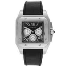 Replique Cartier Santos 100 Chronograph de travail avec cadran noir-bracelet en cuir - Attractive montre Cartier Santos pour vous 29317
