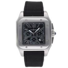 Replique Cartier Santos 100 Chronograph de travail avec cadran noir-Nylon Strap - Attractive Cartier Santos montre pour vous 29316