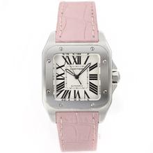 Replique Cartier Santos 100 Swiss ETA 2671 Mouvement avec bracelet en cuir-Dame Rose Taille - Attractive Cartier Santos montre pour vous 29311