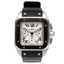 Replique Cartier Santos 100 Chronograph Valjoux 7750 Mouvement suisse avec cadran blanc-bracelet en caoutchouc - Attractive montre Cartier Santos pour vous 29266