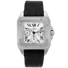 Replique Cartier Santos 100 suisse ETA Valjoux 7753 Mouvement avec cadran blanc-bracelet en cuir - Attractive montre Cartier Santos pour vous 29260