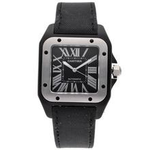 Replique Cartier Santos 100 suisse ETA 2836 Mouvement Boîtier Titanimu avec cadran noir-Nylon Strap - Attractive Cartier Santos montre pour vous 29251