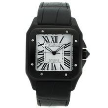 Replique Cartier Santos 100 Swiss ETA 2824 Mouvement PVD affaire avec cadran blanc-bracelet en cuir - Attractive Cartier Santos montre pour vous 29198