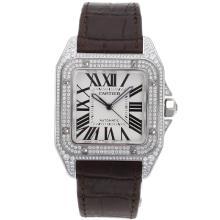 Replique Cartier Santos 100 suisse ETA 2836 Mouvement Boîtier Diamant avec cadran blanc-bracelet en cuir - Attractive montre Cartier Santos pour vous 29185