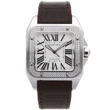 Replique Cartier Santos 100 Swiss ETA 2836 Mouvement lunette sertie de diamants avec cadran blanc-bracelet en cuir - Attractive montre Cartier Santos pour vous 29184