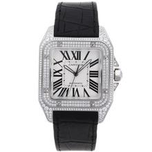 Replique Cartier Santos 100 suisse ETA 2836 Mouvement Boîtier Diamant avec cadran blanc-bracelet en cuir - Attractive montre Cartier Santos pour vous 29183