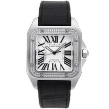 Replique Cartier Santos 100 Swiss ETA 2836 Mouvement lunette sertie de diamants avec cadran blanc-bracelet en cuir - Attractive montre Cartier Santos pour vous 29182