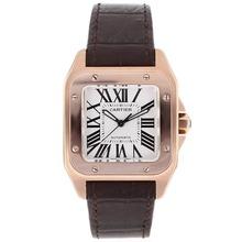 Replique Cartier Santos 100 Swiss ETA 2671 Mouvement boîtier en or rose avec cadran blanc Bracelet en cuir-Taille-Dame - Attractive montre Cartier Santos pour vous 29085