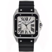Replique Cartier Santos 100 Swiss ETA 2836 Mouvement avec cadran blanc-bracelet en caoutchouc - Attractive montre Cartier Santos pour vous 29075