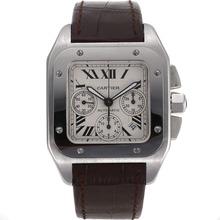 Replique Cartier Santos 100 suisse ETA Valjoux 7753 Mouvement avec cadran blanc-bracelet en cuir - Attractive montre Cartier Santos pour vous 29025