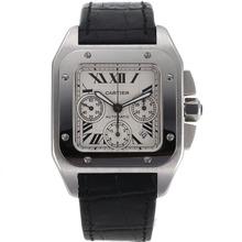 Replique Cartier Santos 100 suisse ETA Valjoux 7753 Mouvement avec cadran blanc-bracelet en cuir - Attractive montre Cartier Santos pour vous 29024