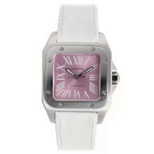 Replique Cartier Santos 100 Swiss ETA 2671 Mouvement avec cadran rose-Taille-Dame - Attractive montre Cartier Santos pour vous 29022