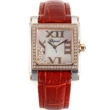 Replik Chopard Happy Diamonds Two Tone Diamond Bezel Roman Markers with MOP Dial-Red Leather Strap 32881