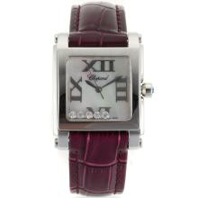 Replik Chopard Happy Diamonds Roman Markers with MOP Dial-Purple Leather Strap 32878