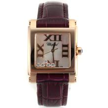 Replik Chopard Happy Diamonds Rose Gold Case Roman Markers with MOP Dial-Purple Leather Strap 32875