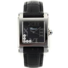 Replik Chopard Happy Diamonds Roman Markers with Black Dial-Black Leather Strap 32873