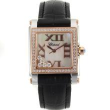 Replique Chopard Happy Diamonds Deux marqueurs Tone Diamond Bezel romains avec bracelet en cuir MOP Dial-Noire 32868