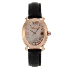 Replik Chopard Happy Diamonds Rose Gold Case with MOP Dial-Black Leather Strap 32843
