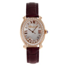 Replique Chopard Happy Diamonds boîtier en or rose avec cadran MOP-Brown Leather Strap 32842