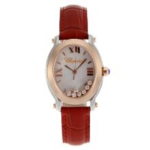 Replique Chopard Happy Diamonds Deux cas Tone Bracelet en cuir MOP Dial-Rouge 32841