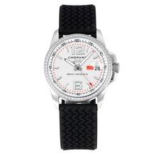 Replique Chopard Gran Turismo XL quartz suisse Mouvement lunette sertie de diamants avec cadran blanc-bracelet en caoutchouc - Attractive Chopard Gran Turismo XL Montre pour vous 32723