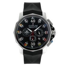 Replique Coupe Corum Admiral travail Chronographe avec bracelet en caoutchouc noir Cadran-Black - Regarder la Coupe Corum Admiral attrayant pour vous 37281