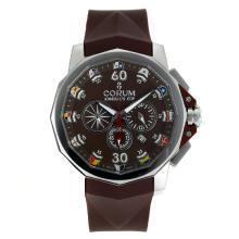 Replique Coupe Corum Admiral travail chronographe avec bracelet en caoutchouc Brown Dial-Brown - Regarder la Coupe Corum Admiral attrayant pour vous 37279
