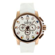 Replique Corum Admiral Cup Chronograph de travail boîtier en or rose avec cadran blanc-bracelet en caoutchouc - Regarder la Coupe Corum Admiral attrayant pour vous 37276