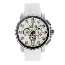 Replique Coupe Corum Admiral travail Chronographe avec bracelet en caoutchouc Cadran Blanc-Blanc - Regarder la Coupe Corum Admiral attrayant pour vous 37274