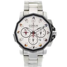 Replique Corum Admiral Cup Chronograph Valjoux 7750 Mouvement suisse PVD lunette avec cadran blanc S / S - Regarder la Coupe Corum Admiral attrayant pour vous 37330