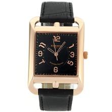Replique Hermes Cape Cod Grandes Heures or rose marqueurs Nombre de cas avec bracelet en cuir noir Cadran Noir-- Attractive Hermes Cape Cod montre pour vous 36883
