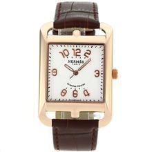 Replique Hermes Cape Cod Grandes Heures or rose marqueurs Nombre de cas avec bracelet en cuir brun cadran blanc-- Attractive Hermes Cape Cod montre pour vous 36882