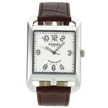 Replique Hermes Cape Cod Grandes Marqueurs Nombre hours avec bracelet en cuir cadran blanc-Brown - Attrayant Hermes Cape Cod Regardez pour vous 36879