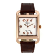 Replik Hermes Cape Cod Grandes Heures Rose Gold Case Number Markers with White Dial-Brown Leather Strap – Attractive Hermes Cape Cod Watch for You 36869