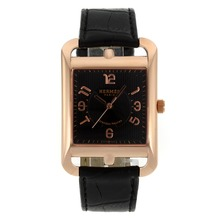 Replik Hermes Cape Cod Grandes Heures Rose Gold Case Number Markers with Black Dial-Leather Strap – Attractive Hermes Cape Cod Watch for You 36868