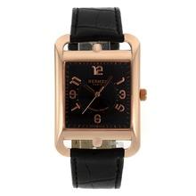 Replique Hermes Cape Cod Grandes Heures or rose marqueurs Nombre de cas avec cadran noir-bracelet en cuir - Attractive Hermes Cape Cod montre pour vous 36868