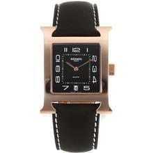 Replique Hermes H-Rose Marqueurs Or notre numéro de dossier avec cadran noir-bracelet en cuir - Attractive Hermes H, notre montre pour vous 36867